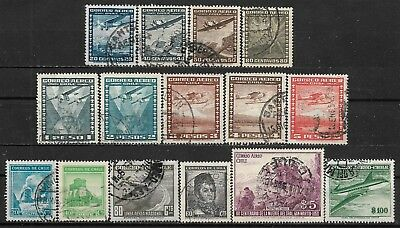 1938-1955 Chile Set Of 15 Used Stamps