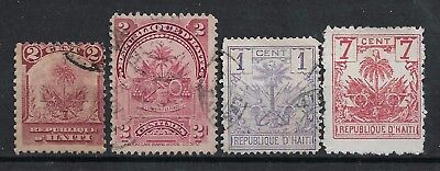 1891-1899 HAITI SET OF 4 USED STAMPS (Michel # 42,47,22,32)