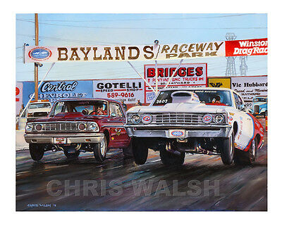"""Drag Racing action prints """"Baylands"""" Raceway Park, classic - Ford vs Chevy"""
