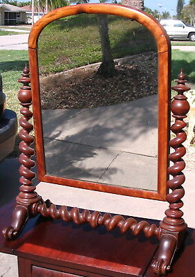 Big Antique  English Barlet Twist Chest / Fireplace Mirror