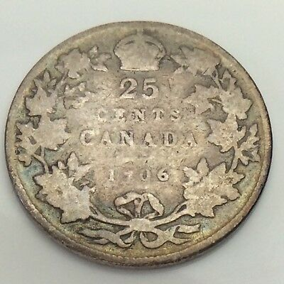 1906 Large Crown Canada Twenty Five 25 Cents Silver Quarter Circulated Coin F490