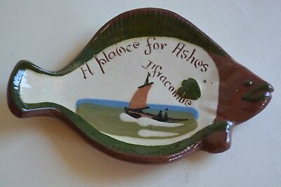 Longpark Torquay Pottery Mottoware Fish-Shaped Ashtray Ilfracombe