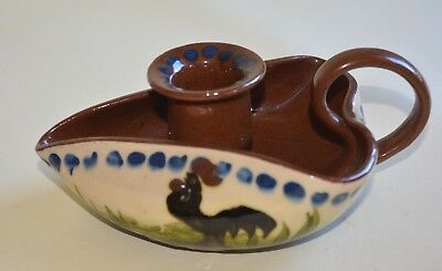 Longpark Torquay Pottery Mottoware Chamber Stick Candle Holder Cockerel Design