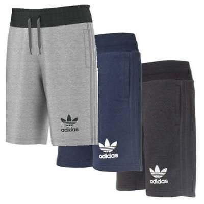 Mens New Adidas Originals 3 Stripe Cotton Shorts Pants Casual Summer - Navy Grey