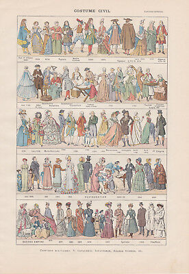 TWO Antique French Book Prints COSTUMES from Larousse, Religous, Royal, Civil