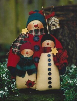 PATTERN Primitive Christmas Snowman Doll Family Display UNCUT OOP Loving Stitch