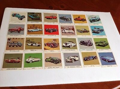 24 LOT B/A GALLERY OF GREAT CARS COLLECTOR CARDS COMPLETE SET 1960's GOOD COND