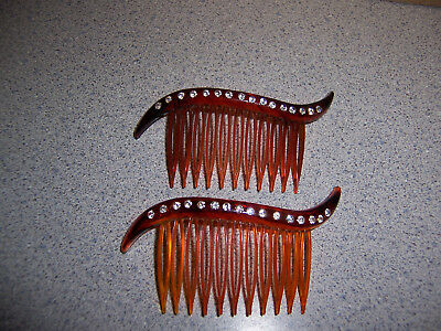 2 Vintage Decorative Celluloid Hair Combs With Clear Rhinestones