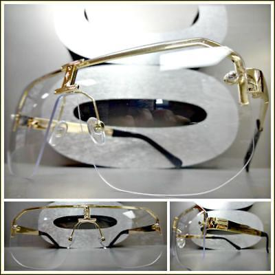 OVERSIZED VINTAGE RETRO SHIELD Style Clear Lens EYE GLASSES Gold Fashion Frame