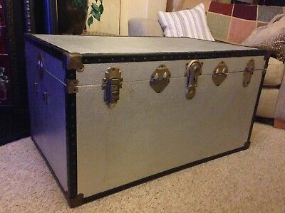 Silver Overpond Steamer Trunk Travel Chest, Original Interior and Brass Fixings