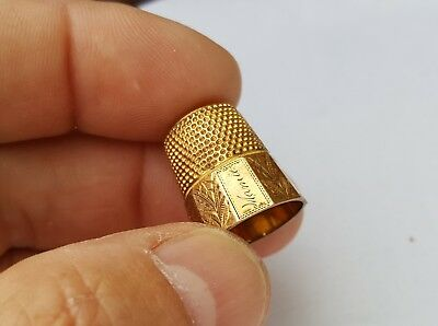Antique Sewing Thimble Gold Overlay H. Muhr's Sons Philadelphia Engraved Mamie