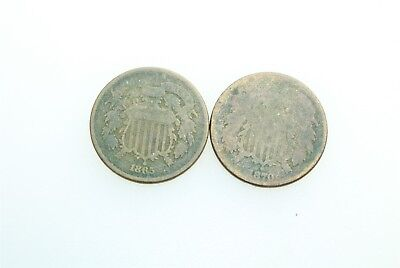 1865 & 1870 Two Cents Coins