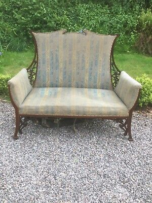 Antique Art Nouveau Inlaid Settee For Reupholstery Sn-138