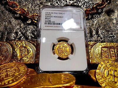 "ITALY, NGC 67 VENICE 1414-23 DUCAT GOLD COIN ""FINEST KNOWN"" JESUS CHRISTt GOSPEL"