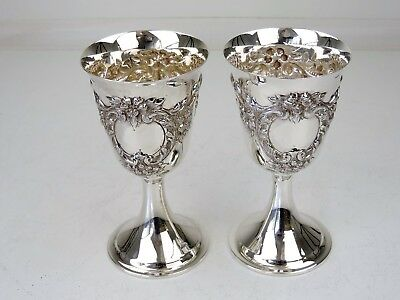 Fabulous Pair of large EGYPTIAN SILVER WINE GOBLETS, c.1920 drinking cups 420g