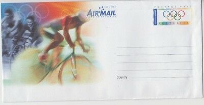 Stamp Australia 2000 Sydney Olympic Games pre-stamped envelope showing cycling