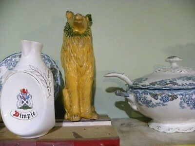 SUPERB 1900s ENGLISH PORCELAIN Dog FIGURE yellow and green