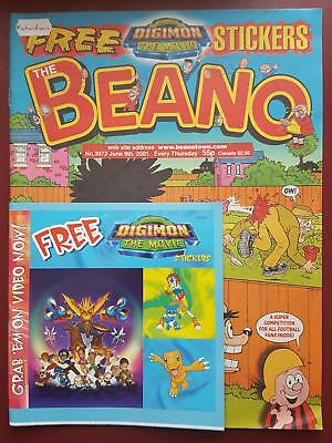 The Beano Comic No.3073 June 2001 Includes Free Gift - Digimon Stickers #B2007
