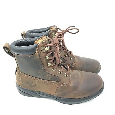3fc61badb93 DR COMFORT BOSS Boots Size 9 W Diabetic Shoes Brown Leather Mens Work Lace  Up