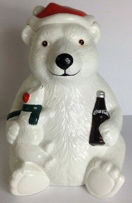 Vintage Coca Cola Momma & Baby Polar Bear Cookie Jar 1998