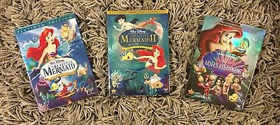 The Little Mermaid 1, 2, and 3 Trilogy 3-DVD Bundle Set (BRAND NEW)