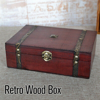 Small Vintage Jewelry Box Home Decor Wooden Treasure Chest Tarot Cards Gift Case