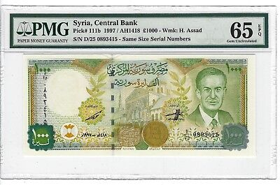 P-111b 1997 1000 Pounds, Syria Central Bank, PMG 65EPQ  Nice!