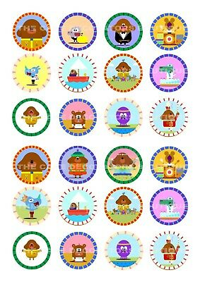 24 Hey Duggee Wafer / Rice Paper Cupcake Topper Edible Fairy Cake Bun Toppers