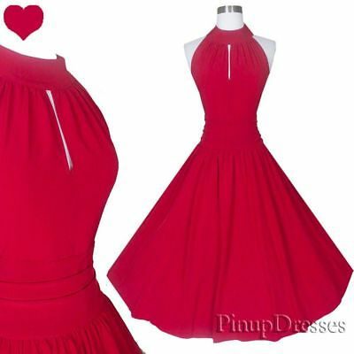 c0c6738aec9 Red Rockabilly Dress S M 50s Retro Pinup Swing Full Skirt Party Bridesmaid  NEW