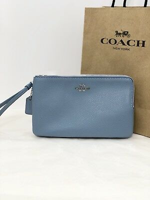NWT Coach F87587 Double Zip Wallet Wristlet Clutch Pebble Leather Pool Blue $175