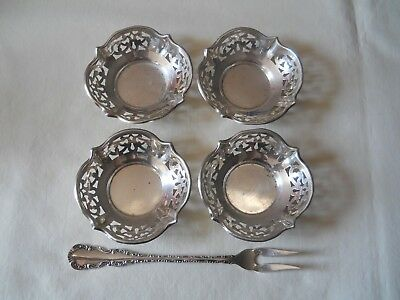 Birks Sterling Silver 4 Nut Dishes and Pickle Fork
