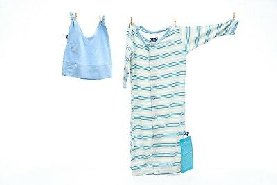 Kickee Pants Boy Desert Stripe Gown and Knot Hat Set 0-3 m