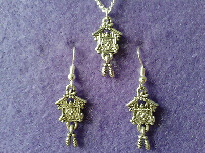 Cuckoo Clock Earrings and Necklace Set * Antique Silver Unique Novelty Vintage