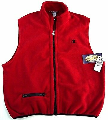 NOS VINTAGE 90s CHAMPION fleece vest mens XL red NWT C logo full zip MADE IN USA