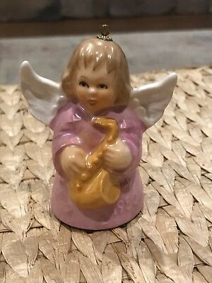 Goebel Pink Angel Playing Trumpet Bell Annual Ornament 1980 Vintage Germany