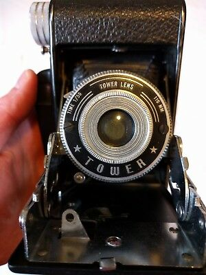 Vintage Tower Folding Camera with Tower Lens 110mm