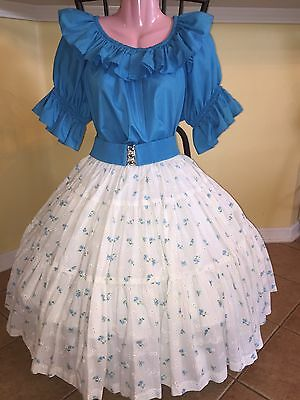 Square Dance Large Turquoise Top & Small White Flower Skirt