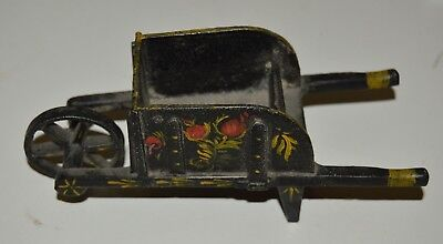 Vintage Cast Iron Hand Painted Floral Bird Motif Rolling Metal Wheelbarrow Rare