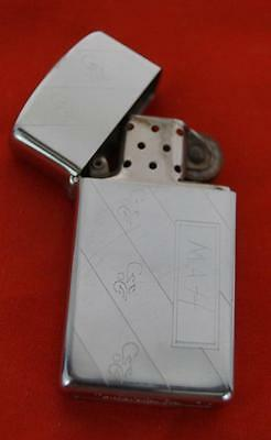 Vintage Zippo Slim Engraved Cigarette Lighter 1989 H V