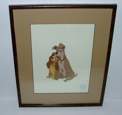 "Framed & Matted 19X16 Limited Edition Of 2,500 Disney Sericel ""lady & The Tramp"""