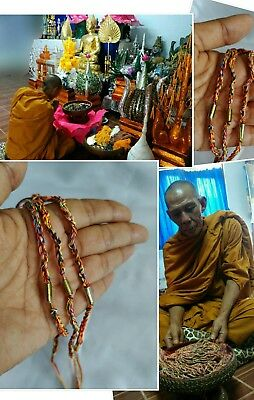 Takrut Rope 7 Color Bracelet Handmade Thai Amulet Talisman Fortune Protect life