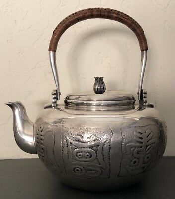Antique Vintage Japanese Sterling Silver Characters Symbol Teapot 836g - Signed