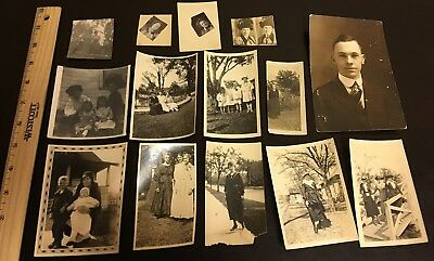 Lot of 14 c.1920 Vintage Photographs - Women, Portraits, Family, Kids, Houses