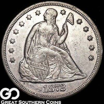 1872 Seated Liberty Dollar, Sought After AU Silver Dollar ** Free Shipping!