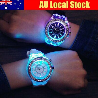 Women Fashion LED Backlight Quartz Crystal Wrist Sport Watch Waterproof Diamond