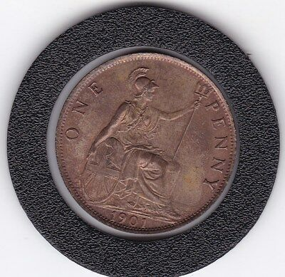 Sharp  1901  Queen  Victoria   Penny  (1d)    Bronze  British  Coin
