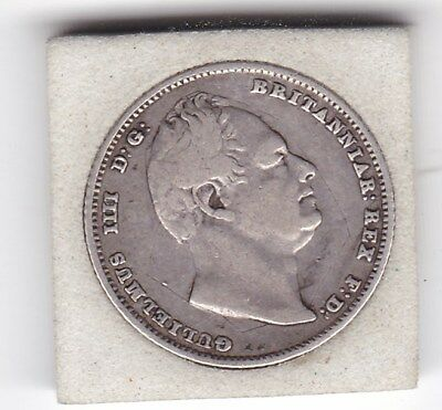 1834   King  William  IIII  Sixpence  (6d)  Sterling  Silver  British  Coin