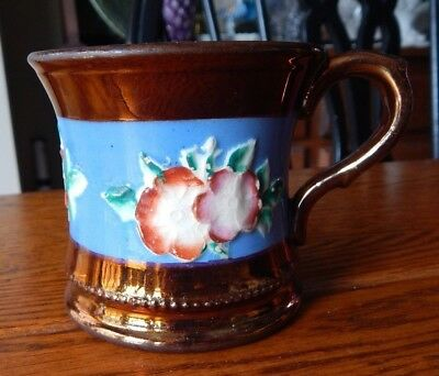 """Antique Staffordshire Copper Luster Ware Mug or Cup -  3"""" Tall"""