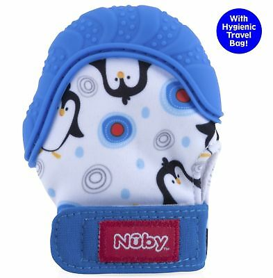 Nuby  Soothing Teething Mitten with Hygienic Travel Bag, Blue Penguins 1 ... New
