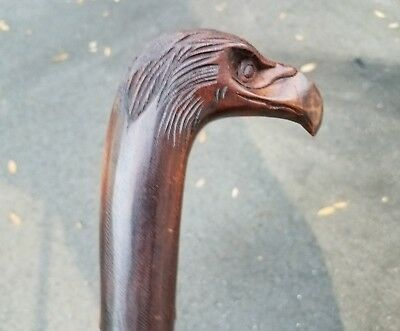 Custom 100% Handcarved Intricate Teak Eagle Cane-Gorgeous Design Style!